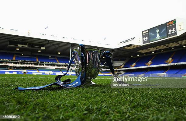 The League Cup trophy on display prior to the Capital One Cup third round match between Tottenham Hotspur and Arsenal at White Hart Lane on September...