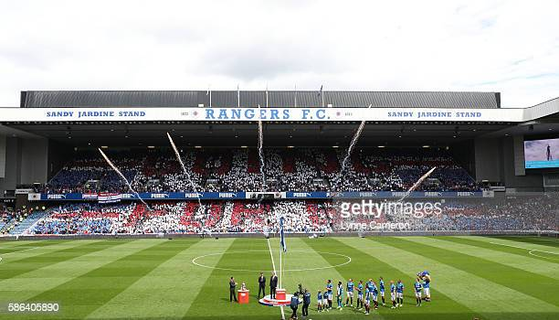 The League flag is unfurled before the Ladbrokes Scottish Premiership match between Rangers and Hamilton Academical at Ibrox Stadium on August 6 2016...