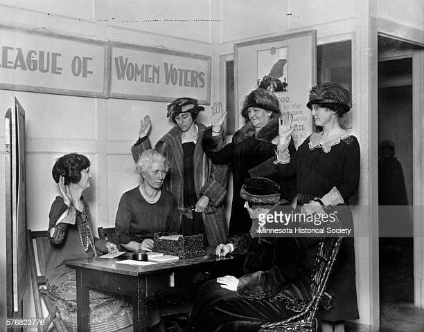 The League of Women Voters registers a group of women to vote