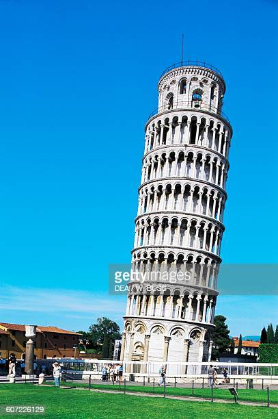 The Leaning tower 12th14th century Square of Miracles Pisa Tuscany Italy