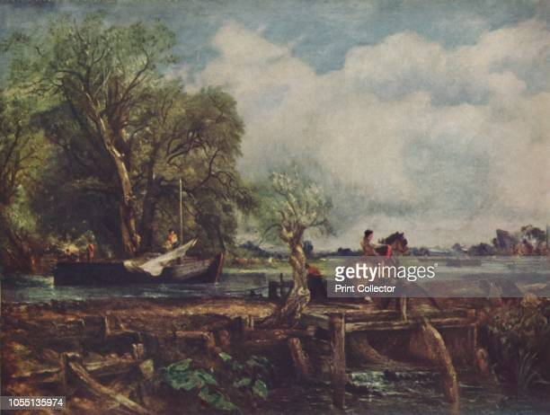 The Leaping Horse' . Tow horse leaping over a barrier on the path as the barge lowers its sail, scene in Suffolk. Painting in the Royal Academy,...