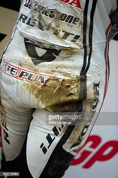 The leather of Randy de Puniet of France and LCR Honda MotoGP after he crashed out is seen during the qualifying practice of British Grand Prix at...