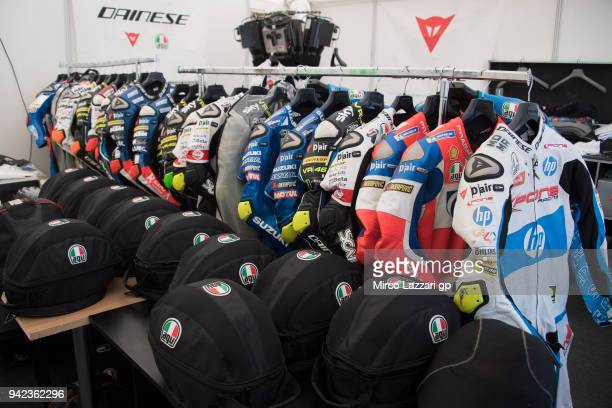 The leather of riders ready for the free practice in service company area in paddock during the MotoGp of Argentina Previews on April 5 2018 in Rio...