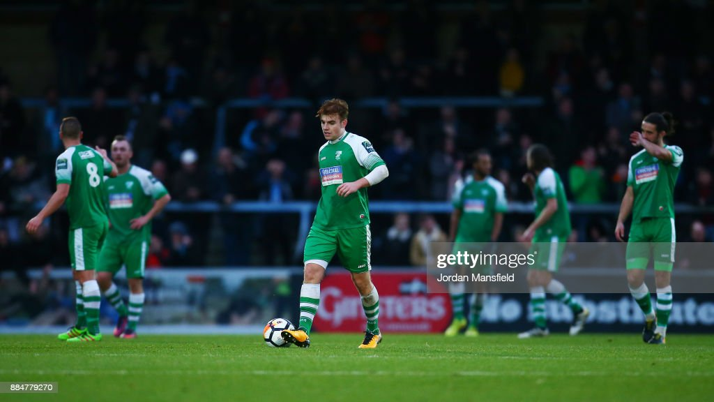 The Leatherhead team are dejected during The Emirates FA Cup Second Round between Wycombe Wanderers and Leatherhead at Adams Park on December 3, 2017 in High Wycombe, England.