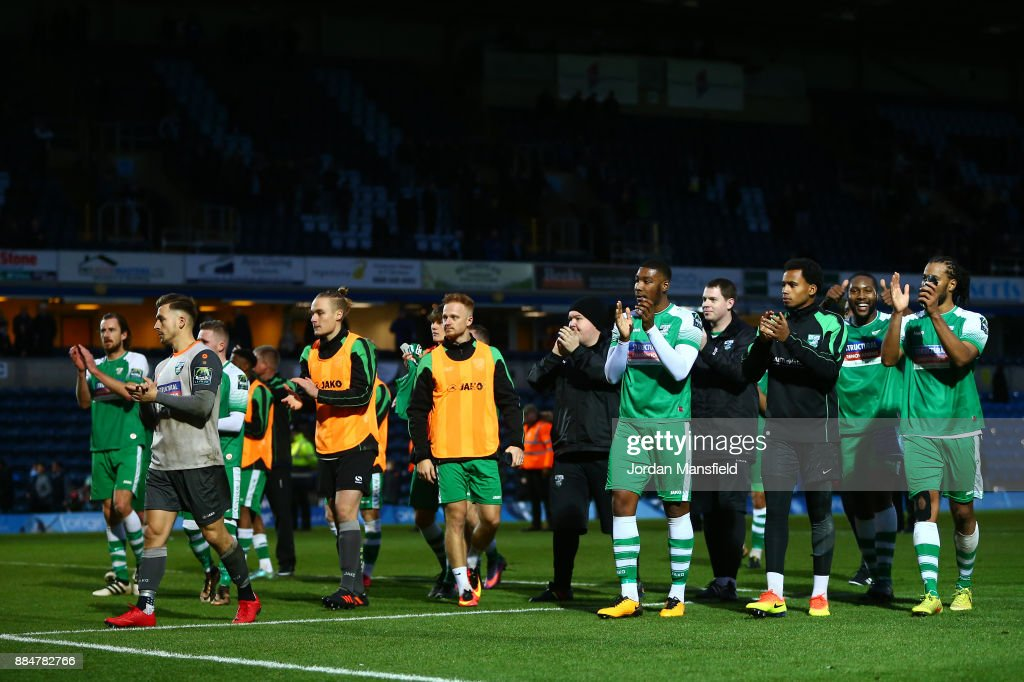 The Leatherhead team show appreciation to the fans after The Emirates FA Cup Second Round between Wycombe Wanderers and Leatherhead at Adams Park on December 3, 2017 in High Wycombe, England.