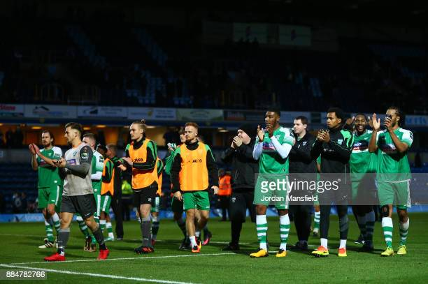 The Leatherhead team show appreciation to the fans after The Emirates FA Cup Second Round between Wycombe Wanderers and Leatherhead at Adams Park on...