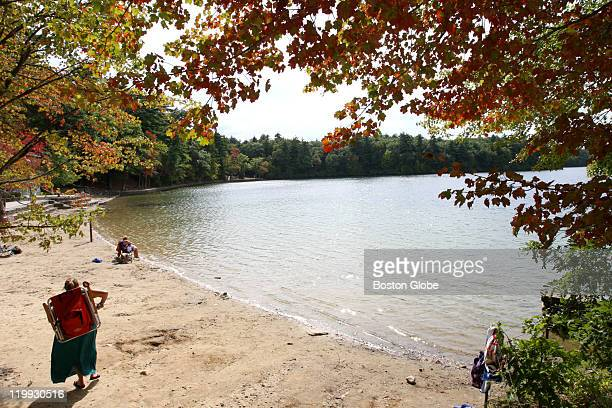 The leaves are beginning to change on the trees as beach goers enjoy the first day of autumn at Walden Pond