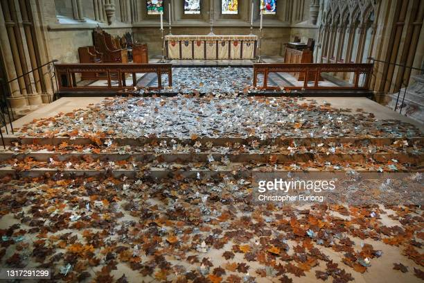 The Leaves of the Trees' art installation adorns the nave of Southwell Minster on May 10, 2021 in Southwell, England. The art installation by...