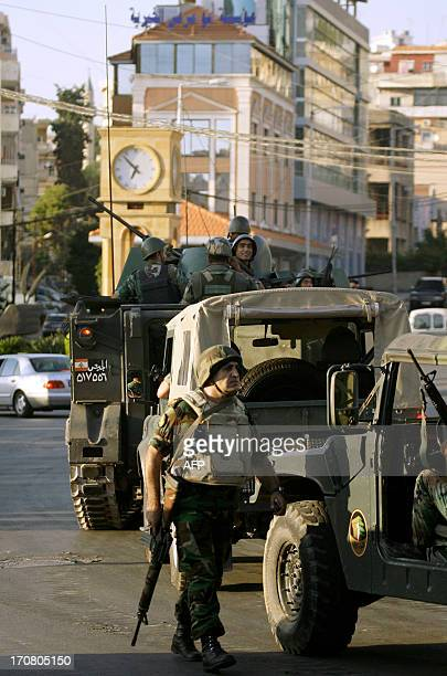 The Lebanese army deploy in the southern town of Sidon's eastern suburb of Abra on June 18 2013 after shooting by gunmen loyal to the controversial...