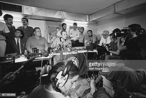 The Lebanese Minister of Justice Nabih Berri gives a press conference with an American hostage released for health reasons Jimmy Palmer