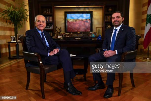 the lebanese Prime Minister Saad Hariri and the french journalist JeanPierre Elkabbach are photographed for Paris Match on november 27 2017 in Beirut...