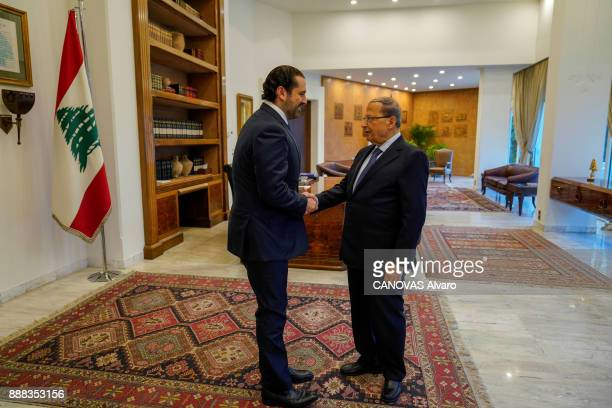 the Lebanese Prime Minister Saad Hariri and the lebanese President Michel Aoun are photographed for Paris Match at the gym on november 27 2017 in...