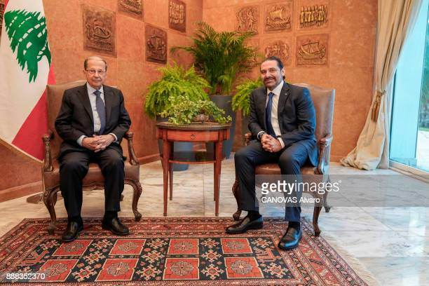 the Lebanese Prime Minister Saad Hariri and the Libanese President Michel Aoun are photographed for Paris Match at the Palace Baabda on november 27...