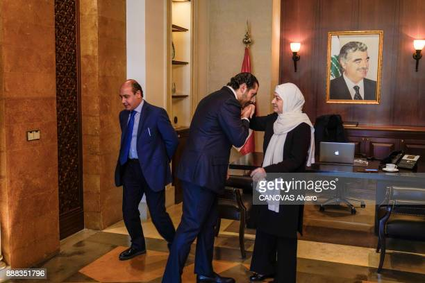 the Lebanese Prime Minister Saad Hariri with his aunt Bahia Hariri are photographed for Paris Match on november 27 2017 in Beirut Lebanon