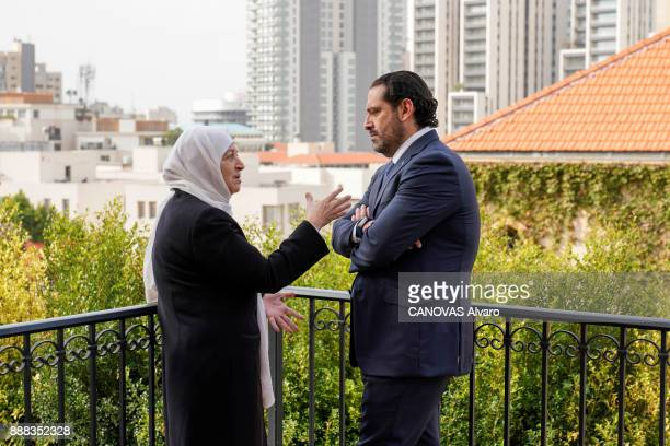the Lebanese Prime Minister Saad Hariri with his aunt Bahia Haririr are photographed for Paris Match on november 27 2017 in Beirut Lebanon