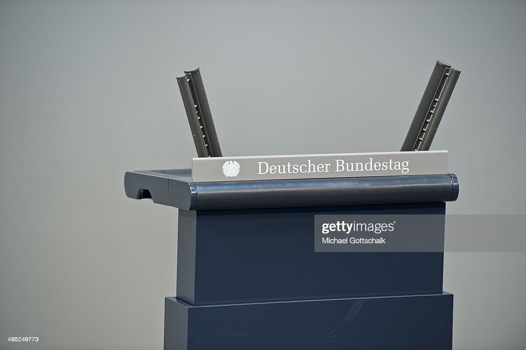 The lectern in German Parliament Bundestag on June 02, 2014 in Berlin, Germany.