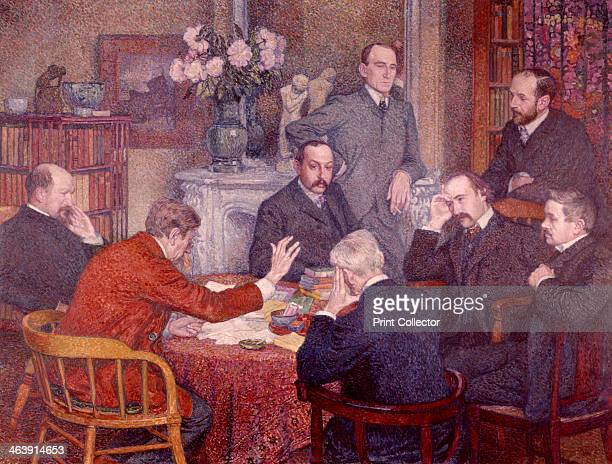 'The Lecture' 1903 Van Rysselberghe has reconstructed one of the meetings between a number of Belgian and French artists from different disciplines...