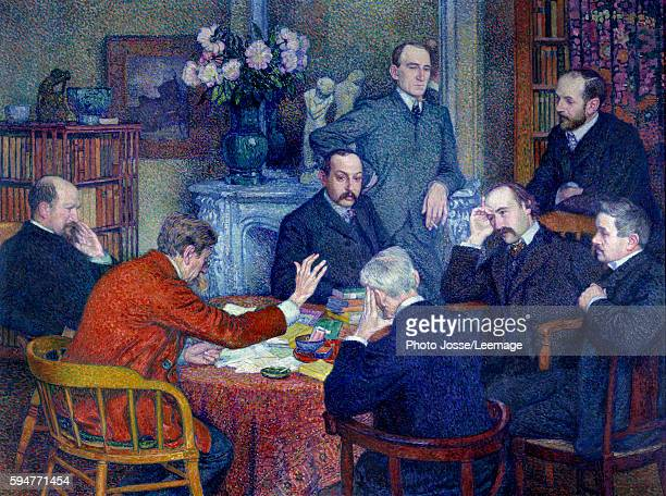 The Lecture or the Reading by Emile Verhaeren 1903 Group portrait of the meeting with near Emile Verhaeren the Belgian socialist poet giving the...