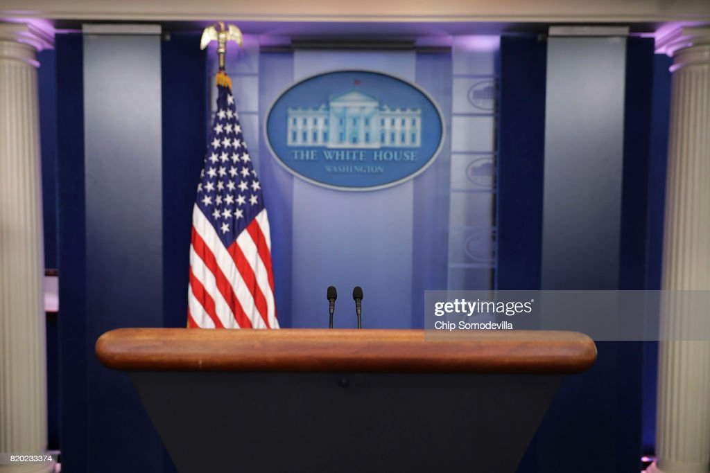 The lecturn in the White House Brady Press Briefing Room is unoccupied after it was learned that Press Secretary Sean Spicer has resigned July 21, 2017 in Washington, DC. Reports say that Spicer quit after disagreeing with President Donald Trump's decision to hire Anthony Scaramucci, a Wall Street financier and longtime supporter, to the position of White House communications director.