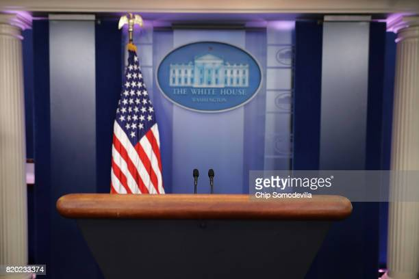 The lecturn in the White House Brady Press Briefing Room is unoccupied after it was learned that Press Secretary Sean Spicer has resigned July 21...