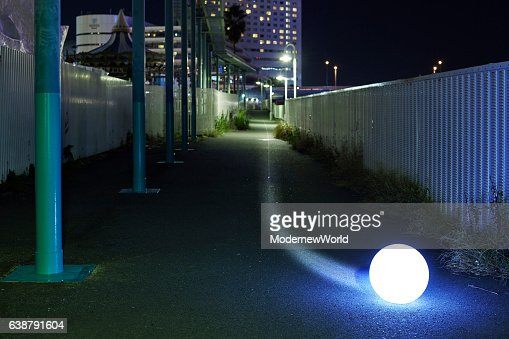 The Led ball moving in the night