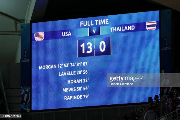 The LED board displays the final score after the 2019 FIFA Women's World Cup France group F match between USA and Thailand at Stade Auguste Delaune...