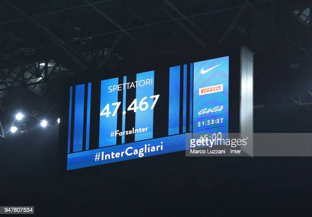 The led board during the serie A match between FC Internazionale and Cagliari Calcio at Stadio Giuseppe Meazza on April 17 2018 in Milan Italy