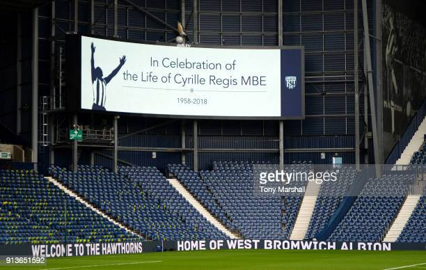 The LED board shows a message of surport for Cyrille Regis during the Premier League match between West Bromwich Albion and Southampton at The...