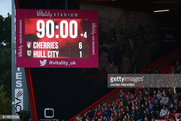 The LED board shows the AFC Bournemouth and Hull City score at the of the match during the Premier League match between AFC Bournemouth and Hull City...