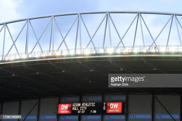 The LED scoreboard inside the stadium shows the 7-0 score just after half time during the Sky Bet Championship match between Wigan Athletic and Hull...