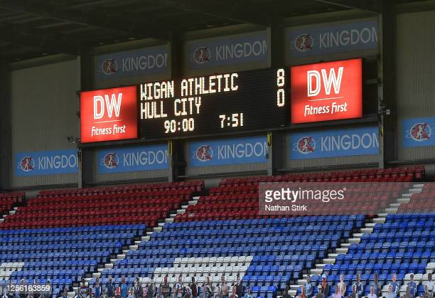 The LED scoreboard inside the stadium shows the full time score of 8-0 after the Sky Bet Championship match between Wigan Athletic and Hull City at...