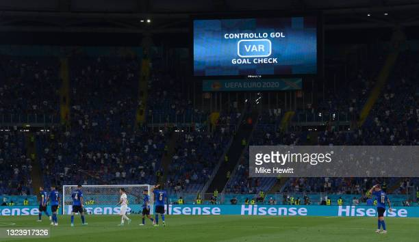 The LED screen displays information that VAR are checking a goal scored by Giorgio Chiellini during the UEFA Euro 2020 Championship Group A match...