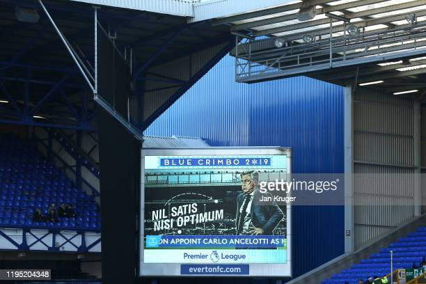 The LED screen inside the stadium shows a message that states Carlo Ancelotti is the new Everton FC manager prior to the Premier League match between...