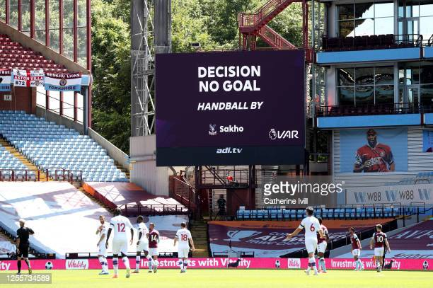 The LED screen inside the stadium shows the VAR message of decision no goal hand ball by Mamadou Sakho of Crystal Palace during the Premier League...