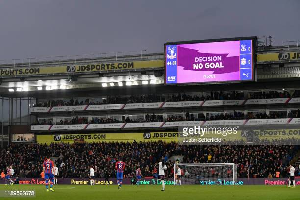 The LED screen shoes VAR checking Crystal Palace's first goal which was later disallowed during the Premier League match between Crystal Palace and...