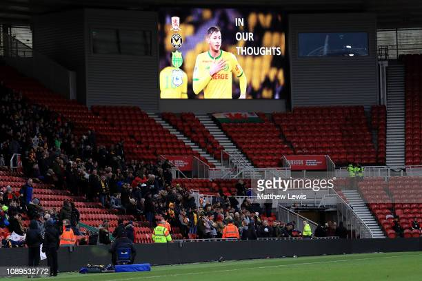 The led screen shows a tribute to Emiliano Sala prior to the FA Cup Fourth Round match between Middlesbrough and Newport County AFC at Riverside...