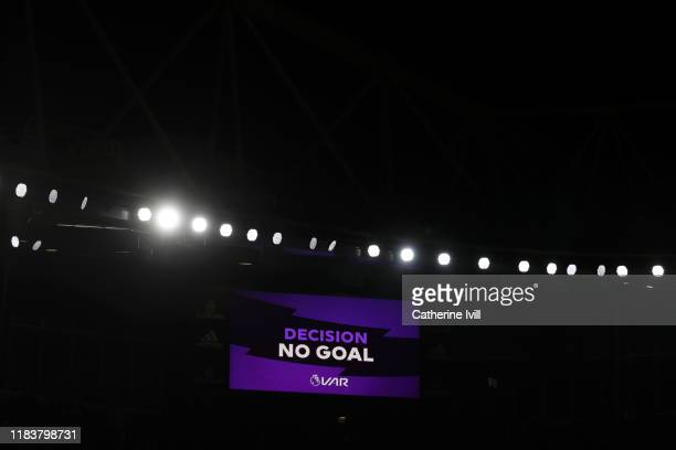 The LED screen shows the 'no goal' decision following a VAR check of Arsenal's third goal scored by Sokratis Papastathopoulos of Arsenal during the...