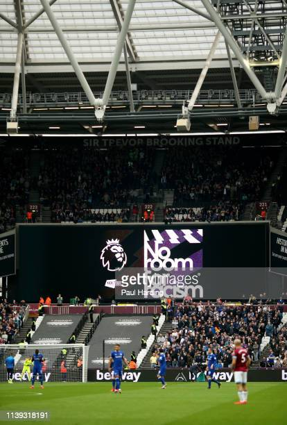 The LED screen shows the No Room for Racism ahead of the Premier League match between West Ham United and Everton FC at London Stadium on March 30...