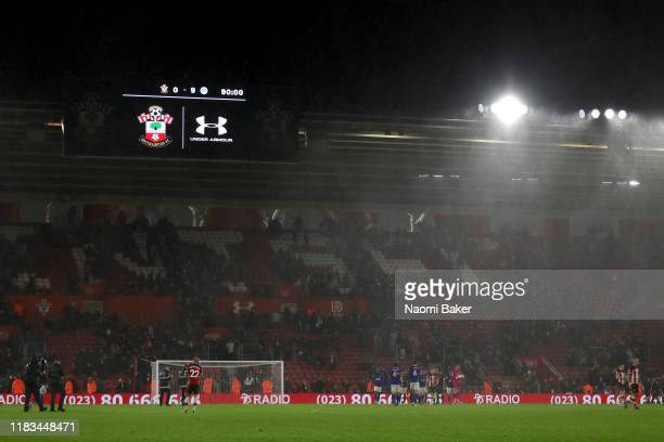 The LED screen shows the record breaking 9-0 score line after the Premier League match between Southampton FC and Leicester City at St Mary's Stadium...