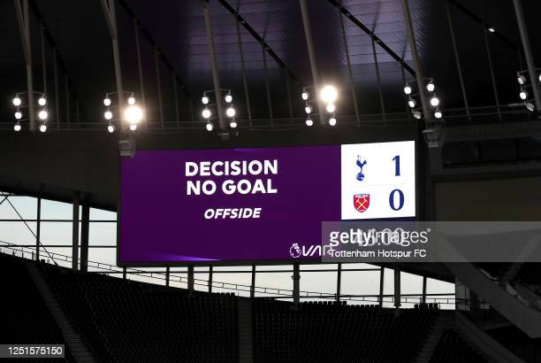 The LED screen shows the VAR decision to disallow a goal for Tottenham Hotspur during the Premier League match between Tottenham Hotspur and West Ham...