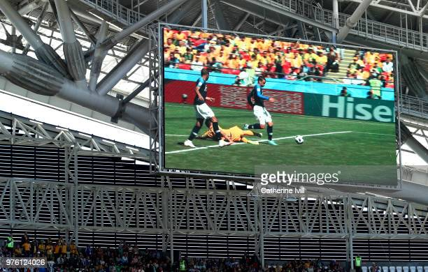 The LED screen shows VAR reviewing a penalty decision during the 2018 FIFA World Cup Russia group C match between France and Australia at Kazan Arena...
