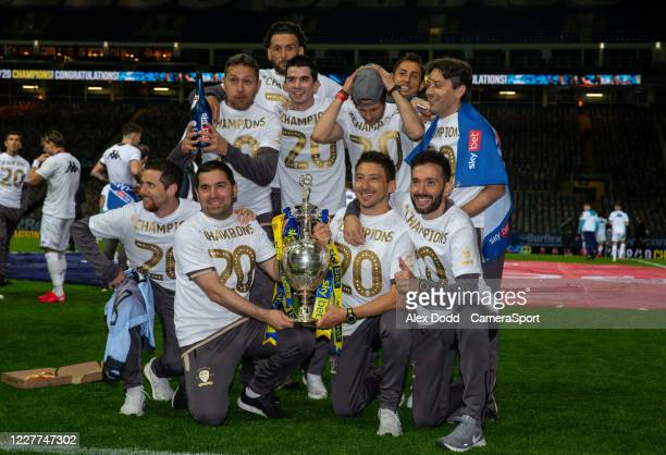 The Leeds United backroom staff celebrate becoming champions during the Sky Bet Championship match between Leeds United and Charlton Athletic at...