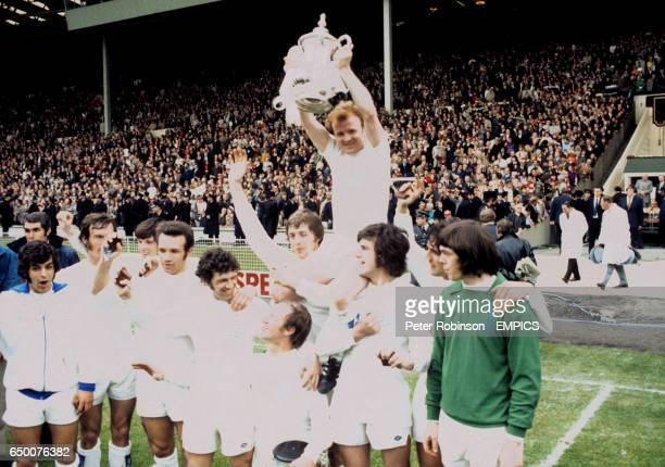 The Leeds United team celebrate after beating Arsenal LR Mick Bates Paul Madeley Eddie Gray Paul Reaney Johhny Giles Jack Charlton Allan Clarke Billy...
