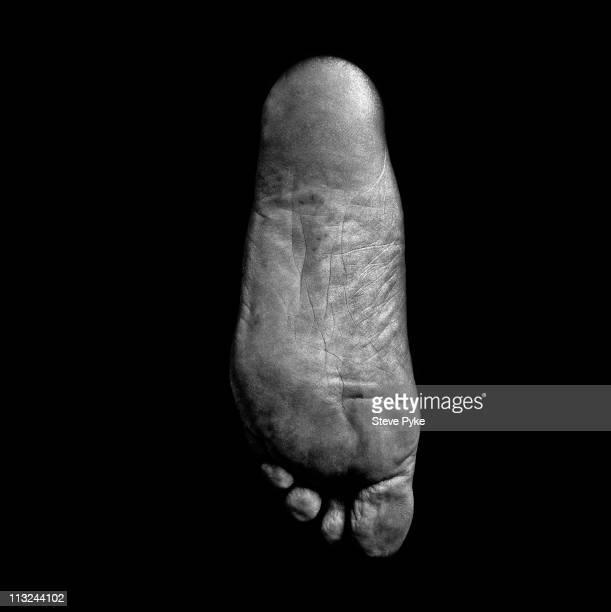The left foot of American astronaut Pete Conrad Huntington Beach California 29th July 1998 Conrad took part in the Gemini 5 and 11 Apollo 12 and...
