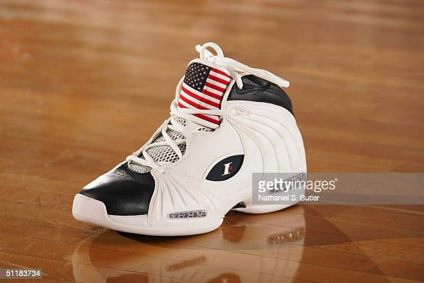 The left Reebok shoe that Allen Iverson of the USA Olympic Men's Basketball Team wears is displayed on the court during day two of practices in...