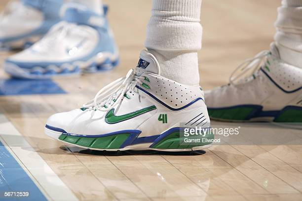 The left shoe of Dirk Nowitzki of the Dallas Mavericks is shown during the game against the Denver Nuggets on January 6 2006 at the Pepsi Center in...