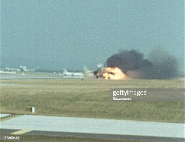 The left wing of supersonic passenger airliner Concorde Air France Flight 4590 bursts into flame on take off from Paris Charles de Gaulle airport...