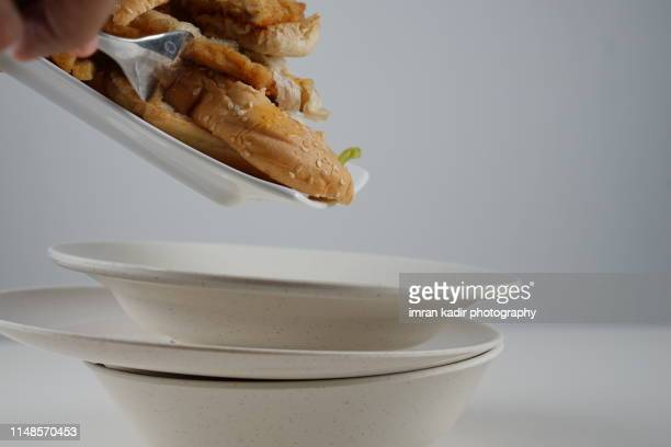 the leftovers. the bread in close up shot. - thanksgiving leftovers stock photos and pictures