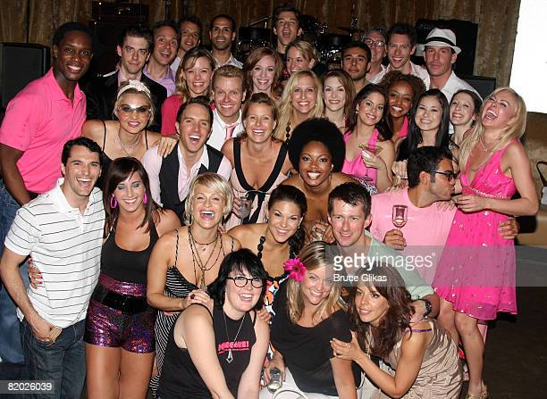 """The Legally Blonde cast pose at the after party for Laura Bell Bundy and Andy Karl leaving """"Legally Blonde"""" on Broadway at Spotlight Live! on July..."""