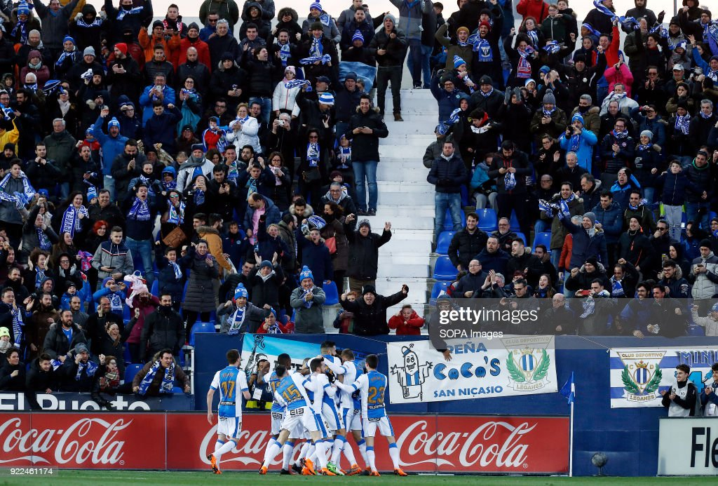 The Leganes team celebrate after Bustinza scored during the...